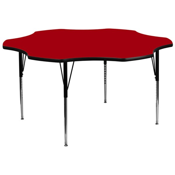 60 Inch Flower Shaped Table W/Red Thermal Fused Top & Adjustable Legs FLF-XU-A60-FLR-RED-T-A-GG