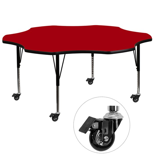 Flash Furniture Mobile 60 Inch Flower Shaped Activity Table with Red Thermal Fused Top FLF-XU-A60-FLR-RED-T-P-CAS-GG