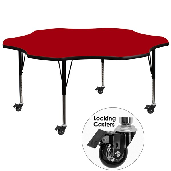 Mobile 60 Inch Flower Shaped Activity Table W/Red Thermal Fused Top FLF-XU-A60-FLR-RED-T-P-CAS-GG