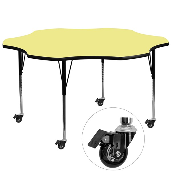Flash Furniture Mobile 60 Inch Flower Shaped Activity Table with Yellow Therma- Fused Top FLF-XU-A60-FLR-YEL-T-A-CAS-GG