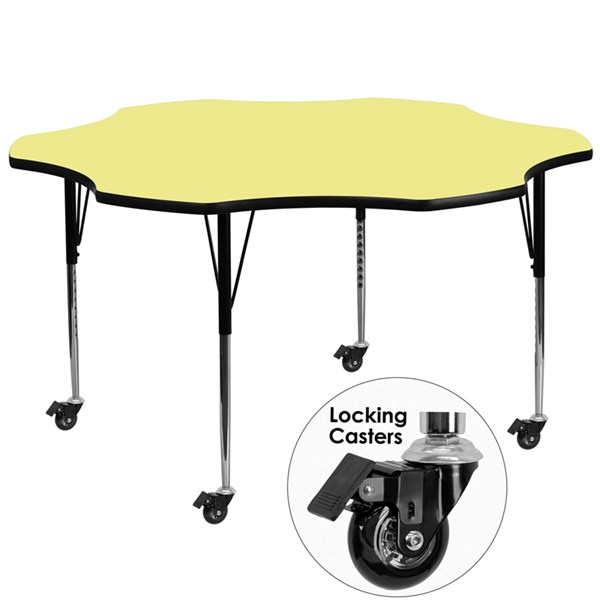 Mobile 60 Inch Flower Shaped Activity Table W/Yellow Therma- Fused Top FLF-XU-A60-FLR-YEL-T-A-CAS-GG
