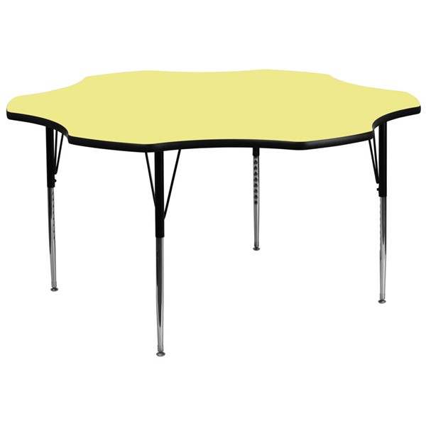 Flash Furniture 60 Inch Flower Shaped Table with Yellow Thermal Fused Top and Adjustable Legs FLF-XU-A60-FLR-YEL-T-A-GG