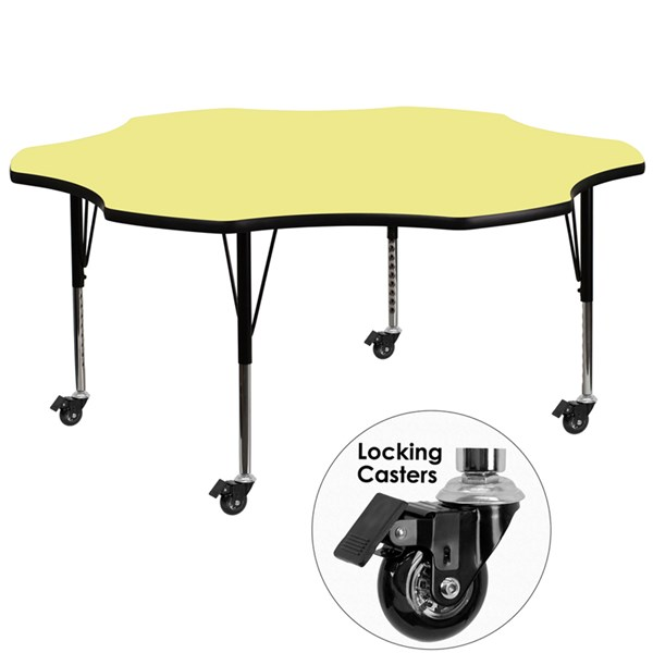 Mobile 60 Inch Flower Shaped Activity Table W/Yellow Thermal Fused Top FLF-XU-A60-FLR-YEL-T-P-CAS-GG