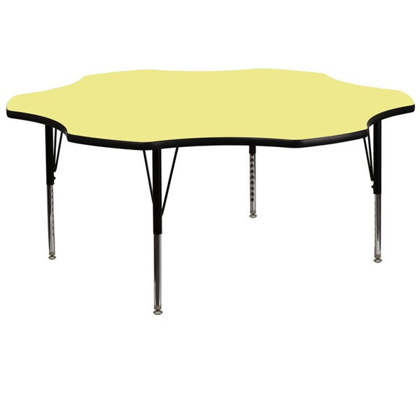Flash Furniture 60 Inch Flower Shaped Table with Yellow Thermal Fused Top and Pre-School Legs FLF-XU-A60-FLR-YEL-T-P-GG