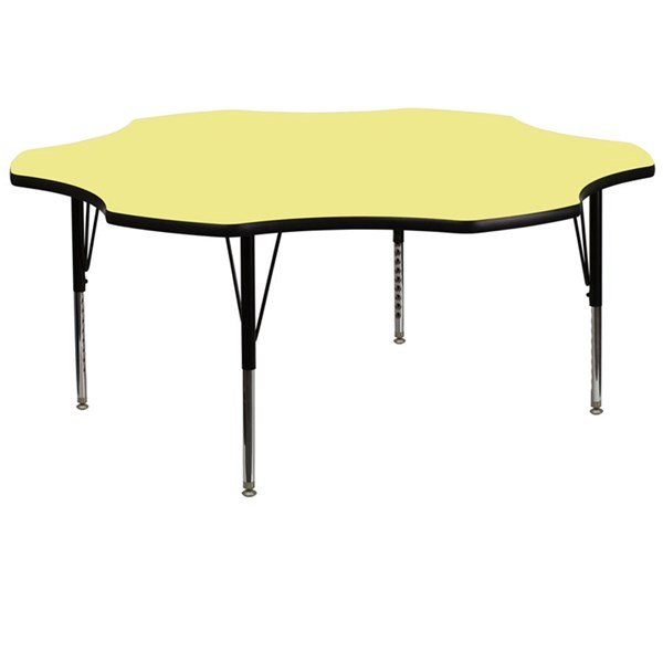 60 Inch Flower Shaped Table W/Yellow Top & Pre-School Legs FLF-XU-A60-FLR-YEL-T-P-GG