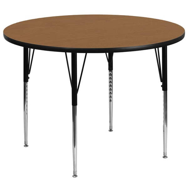 Flash Furniture 60 Inch Round Activity Table with Oak Thermal Fused Top and Adjustable Legs FLF-XU-A60-RND-OAK-T-A-GG