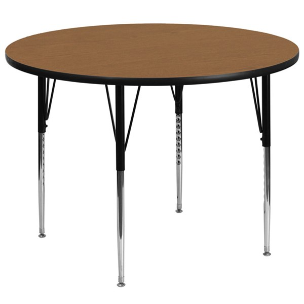 60 Inch Round Activity Table W/Oak Thermal Fused Top & Adjustable Legs FLF-XU-A60-RND-OAK-T-A-GG