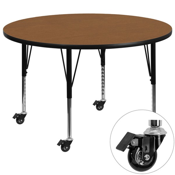 Flash Furniture Mobile 60 Inch Round Activity Table with Oak Thermal Fused Laminate Top FLF-XU-A60-RND-OAK-T-P-CAS-GG