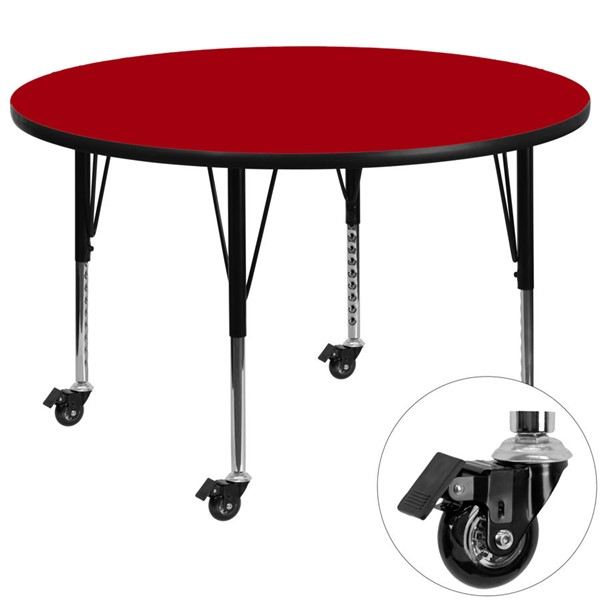 Flash Furniture Mobile 60 Inch Round Activity Table with Red Thermal Fused Laminate Top FLF-XU-A60-RND-RED-T-P-CAS-GG