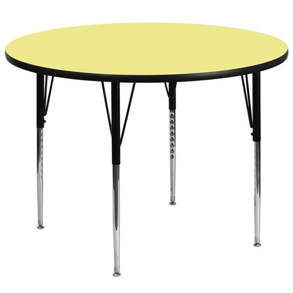 60 Inch Round Activity Table W/Yellow Top & Adjustable Legs FLF-XU-A60-RND-YEL-T-A-GG