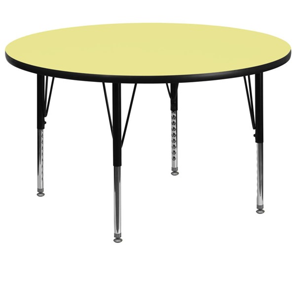 Flash Furniture 60 Inch Round Activity Table with Yellow Thermal Fused Top and Pre-School Legs FLF-XU-A60-RND-YEL-T-P-GG