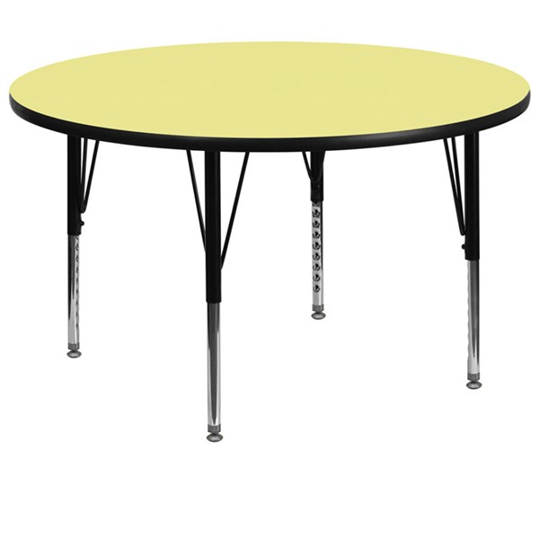 60 Inch Round Table W/Yellow Thermal Fused Top & Pre-School Legs FLF-XU-A60-RND-YEL-T-P-GG