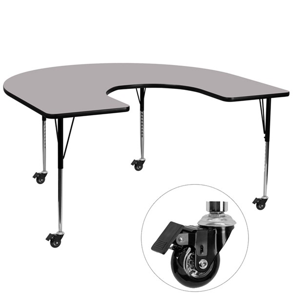 Flash Furniture Mobile 60 X 66 Horseshoe Shaped Activity Table with Grey Thermal Fused Top FLF-XU-A6066-HRSE-GY-T-A-CAS-GG