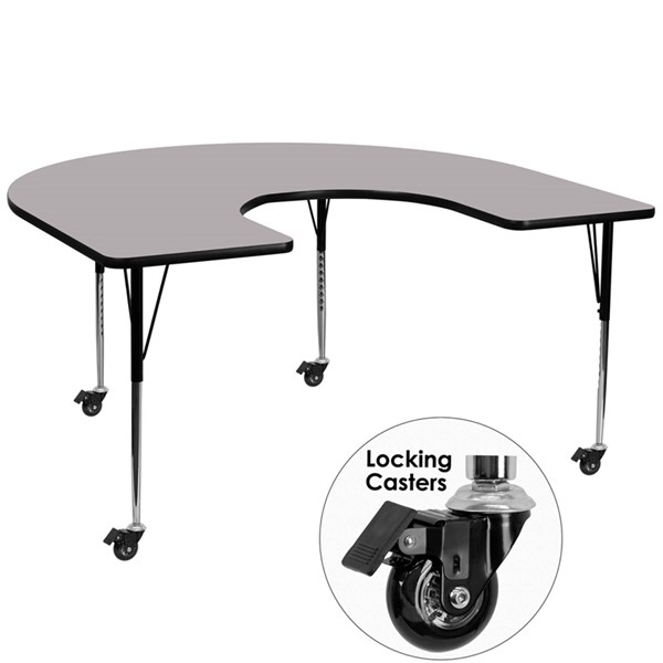 Mobile 60x66 Horseshoe Shaped Activity Table w/Grey Thermal Fused Top FLF-XU-A6066-HRSE-GY-T-A-CAS-GG