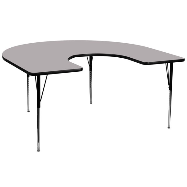 Flash Furniture Gray Wood Chrome Laminate Steel Horseshoe Activity Table FLF-XU-A6066-HRSE-GY-T-A-GG