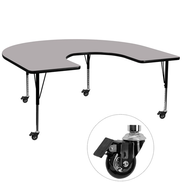 Flash Furniture Mobile 60 X 66 Horseshoe Shape Activity Table with Grey Thermal Fused Top FLF-XUA6066-HRSE-GY-TPCAS-GG