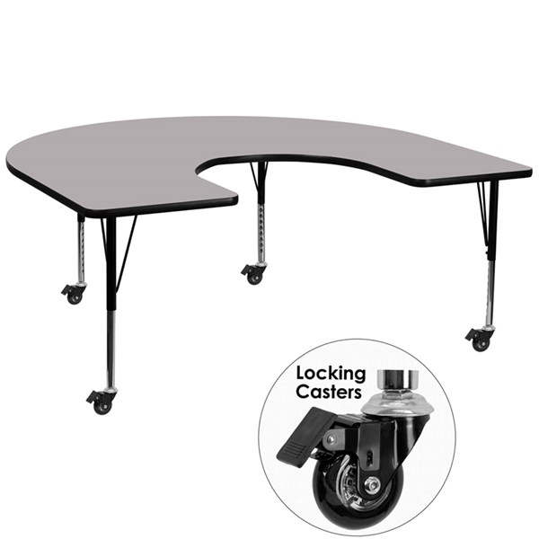 Mobile 60x66 Horseshoe Shape Activity Table w/Grey Thermal Fused Top FLF-XU-A6066-HRSE-GY-T-P-CAS-GG