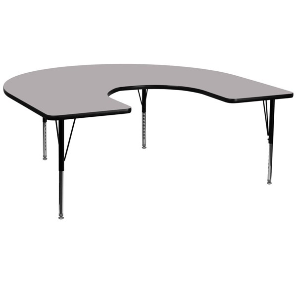 Flash Furniture Grey Metal Wood Activity Table with Laminate Top FLF-XU-A6066-HRSE-GY-T-P-GG