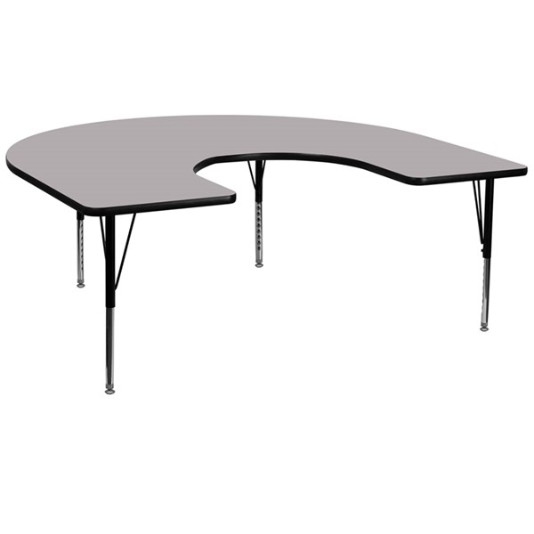 Grey Chrome Laminate Horseshoe Shaped Thermal Fused Activity Table FLF-XU-A6066-HRSE-GY-T-P-GG