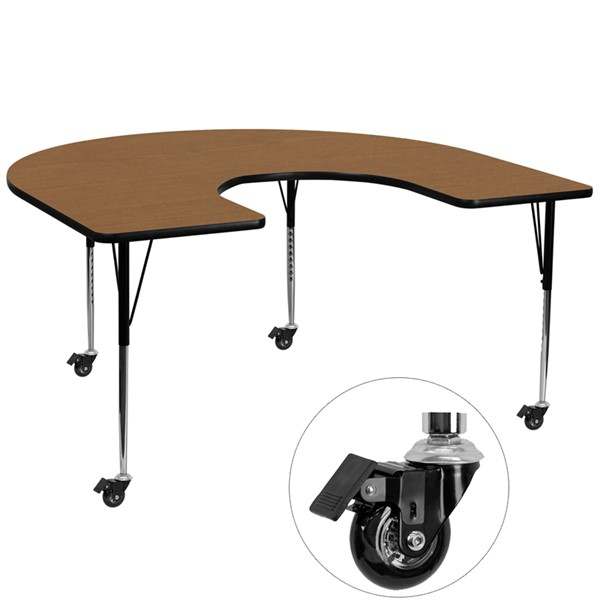 Flash Furniture Mobile 60 X 66 Horseshoe Shaped Activity Table with Oak Thermal Fused Top FLF-XU-A6066-HRSE-OAK-T-A-CAS-GG