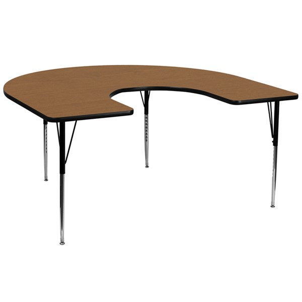 Flash Furniture Wood Chrome Laminate Steel Horsehoe Activity Table FLF-XU-A6066-HRSE-T-A-GG-KDSK-VAR