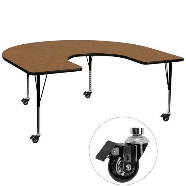 Flash Furniture Mobile 60 X 66 Horseshoe Shape Activity Table with Oak Thermal Fused Top FLF-XU-A6066-HRSE-OAK-T-P-CAS-GG