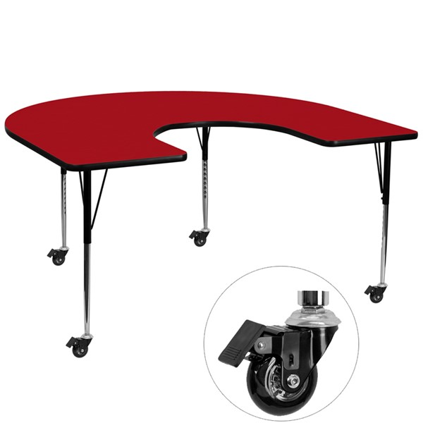 Flash Furniture Mobile 60 X 66 Horseshoe Shaped Activity Table with Red Thermal Fused Top FLF-XUA6066-HRSERDTACASGG