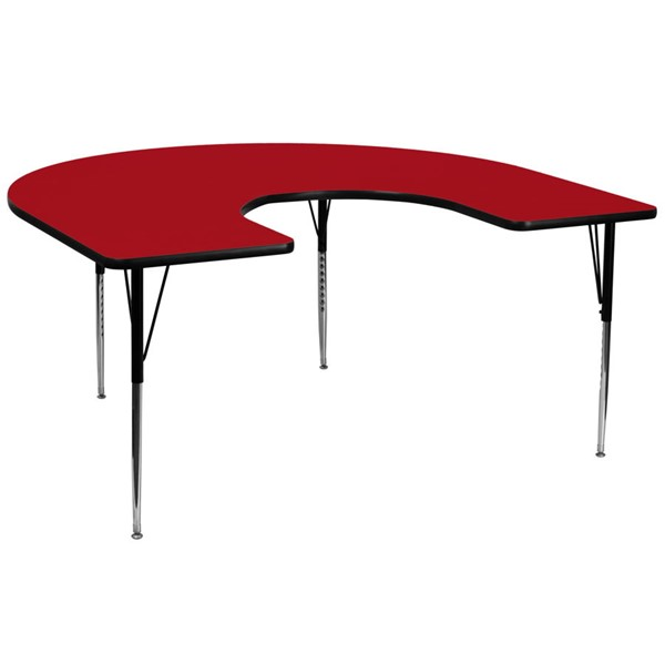 Flash Furniture Red Wood Chrome Laminate Steel Horseshoe Activity Table FLF-XU-A6066-HRSE-RED-T-A-GG