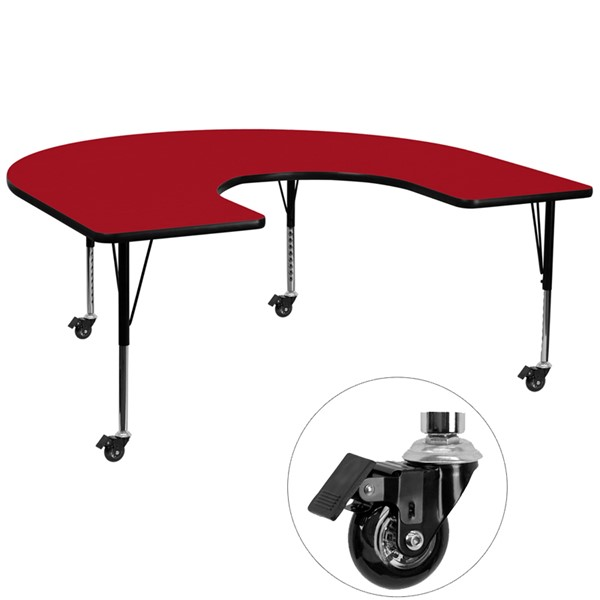 Flash Furniture Mobile 60 X 66 Horseshoe Shape Activity Table with Red Thermal Fused Top FLF-XU-A6066-HRSE-RED-T-P-CAS-GG