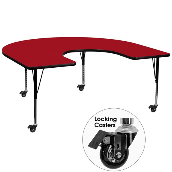 Mobile 60x66 Horseshoe Shape Activity Table with Red Thermal Fused Top FLF-XU-A6066-HRSE-RED-T-P-CAS-GG