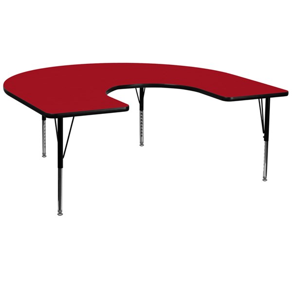 Red Metal Wood Activity Table W/Laminate Top & Height Adjustable Legs FLF-XU-A6066-HRSE-RED-T-P-GG