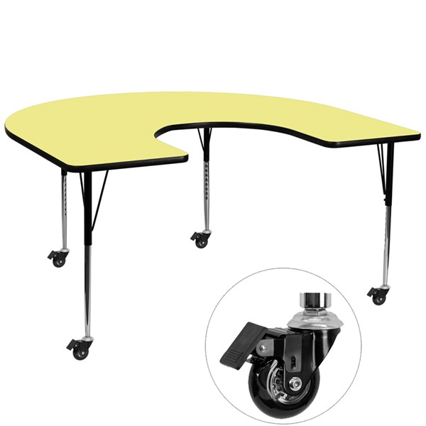 Flash Furniture Mobile 60 X 66 Horseshoe Shaped Activity Table with Yellow Thermal Fused Top FLF-XUA6066-HRSEYELTACASGG