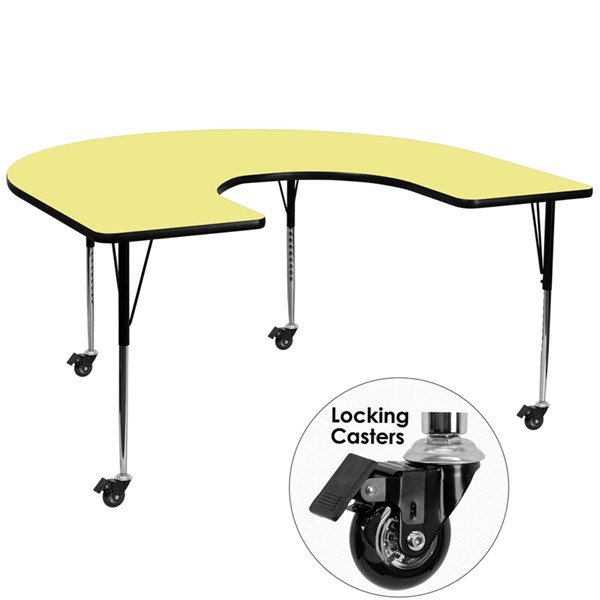 Mobile 60x66 Horseshoe Shaped Activity Table -Yellow Thermal Fused Top FLF-XU-A6066-HRSE-YEL-T-A-CAS-GG