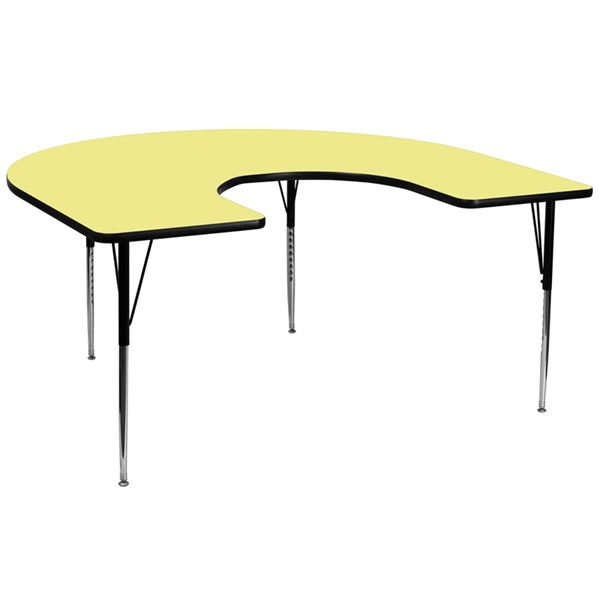 Yellow Chrome Laminate Steel Horseshoe Shaped Activity Table FLF-XU-A6066-HRSE-YEL-T-A-GG