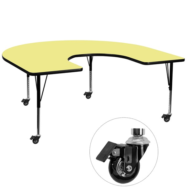 Flash Furniture Mobile 60 X 66 Horseshoe Shape Activity Table with Yellow Thermal Fused Top FLF-XUA6066-HRSEYELTPCASGG