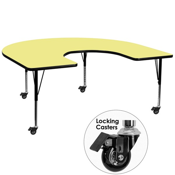 Mobile 60x66 Horseshoe Shape Activity Table w/Yellow Thermal Fused Top FLF-XU-A6066-HRSE-YEL-T-P-CAS-GG