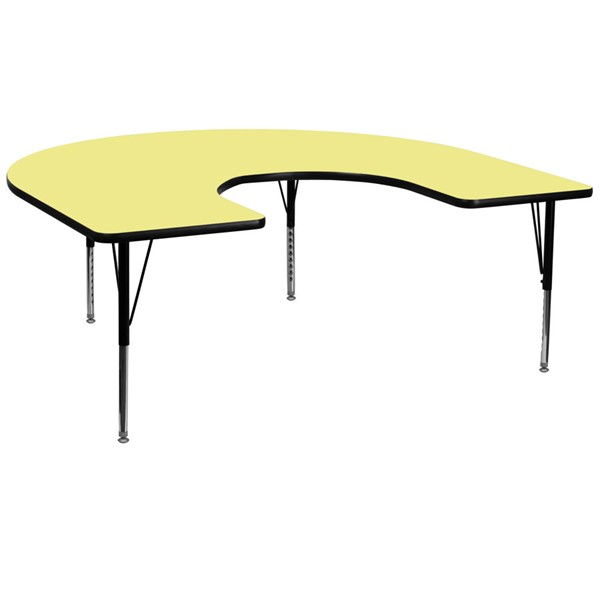Flash Furniture Yellow Metal Wood Activity Table with Laminate Top FLF-XU-A6066-HRSE-YEL-T-P-GG