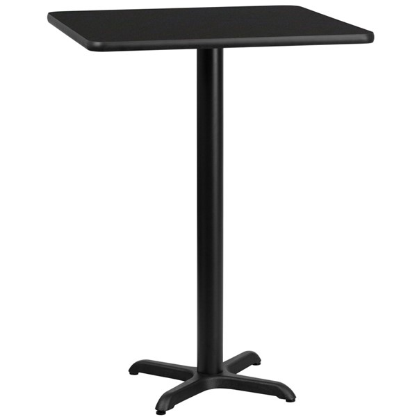 Flash Furniture 24 Inch Square Black Laminate Table Top with 22X22 Bar Height Table Base FLF-XU-BLKTB-2424-T2222B-GG