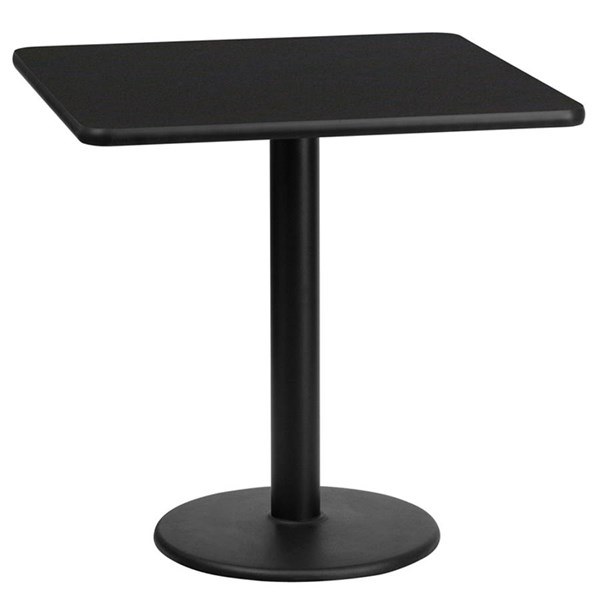 Flash Furniture 24 Inch Square Table Tops with 18 Inch Round Table Height Base FLF-XU-2424-TR18-GG-DT-VAR