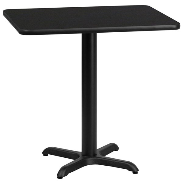 Flash Furniture 24 X 30 Black Laminate Table Top with 22X22 Table Height Base FLF-XU-BLKTB-2430-T2222-GG