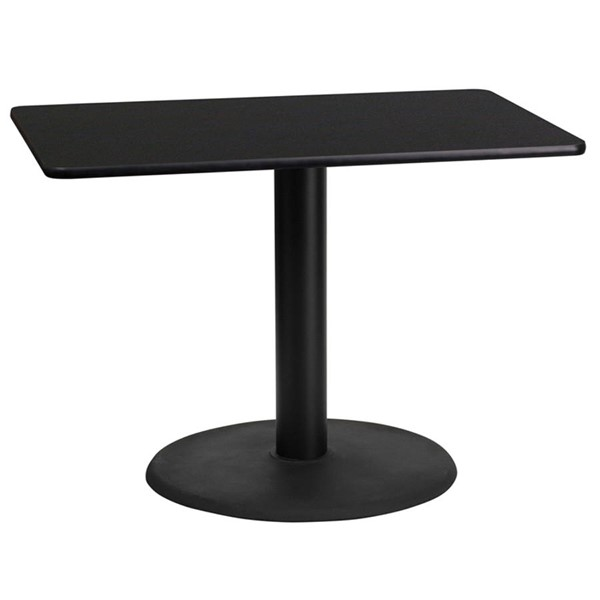 Flash Furniture 24X42 Black Laminate Table Top with 24 Inch Round Table Base FLF-XU-BLKTB-2442-TR24-GG