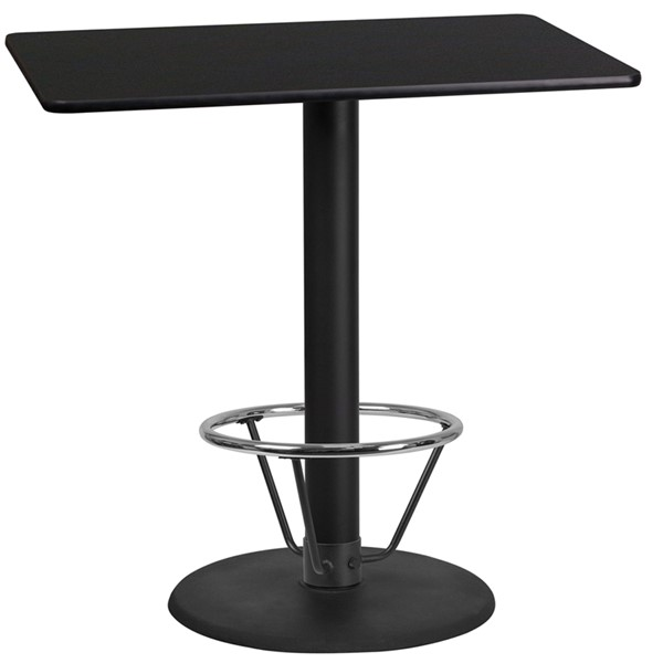 Flash Furniture Black 24 x 42 Laminate Round Base Table FLF-XU-BLKTB-2442-TR24B-4CFR-GG