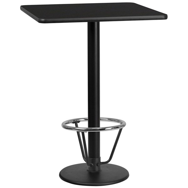Flash Furniture Black 30 Square Laminate Round Base Table FLF-XU-BLKTB-3030-TR18B-3CFR-GG
