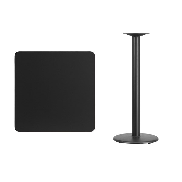 30 Inch Square Laminate Table Top w/18 Inch Round Bar H Table Base FLF-XU-3030-TR18B-GG-BT-VAR