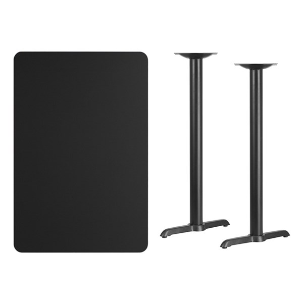 30 x 45 Black Laminate Table Top w/5 x 22 Bar Height Table Base FLF-XU-BLKTB-3045-T0522B-GG