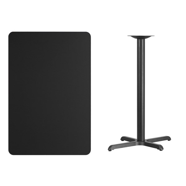 30 x 45 Black Laminate Table Top w/22 x 30 Bar Height Table Base FLF-XU-BLKTB-3045-T2230B-GG