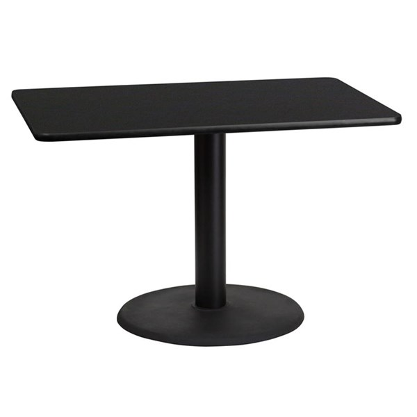 30x45 Black Laminate Table Top W/24 Inch Round Table Height Base FLF-XU-BLKTB-3045-TR24-GG
