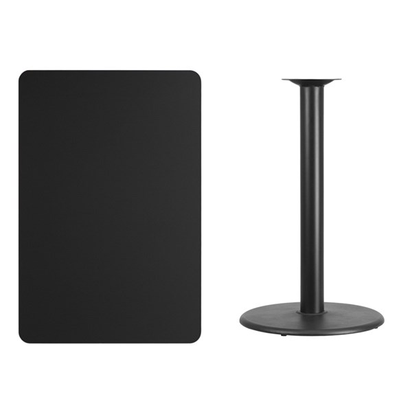 30x45 Black Laminate Table Top W/24 Inch Round Bar Height Table Base FLF-XU-BLKTB-3045-TR24B-GG