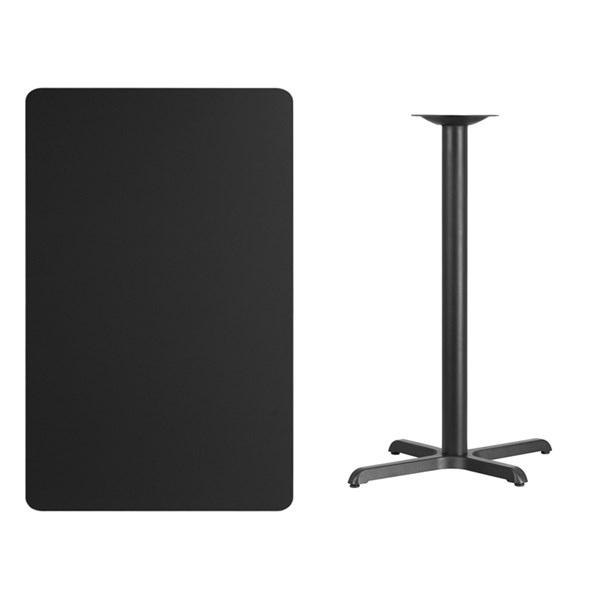 30 x 48 Black Laminate Table Top w/22 x 30 Bar Height Table Base FLF-XU-BLKTB-3048-T2230B-GG