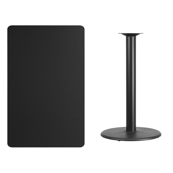 30x48 Black Laminate Table Top W/24 Inch Round Bar Height Table Base FLF-XU-BLKTB-3048-TR24B-GG